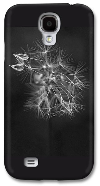 White Flowers Galaxy S4 Cases - Portrait of a Dandelion Galaxy S4 Case by Rona Black