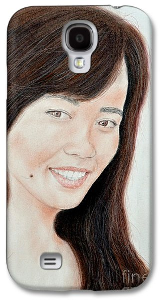 Beauty Mark Mixed Media Galaxy S4 Cases - Portrait of a Filipina Beauty Galaxy S4 Case by Jim Fitzpatrick