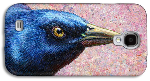 Crows Paintings Galaxy S4 Cases - Portrait of a Grackle Galaxy S4 Case by James W Johnson