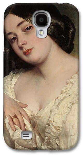 Alluring Paintings Galaxy S4 Cases - Portrait of a lady Galaxy S4 Case by Franz Xaver Winterhalter