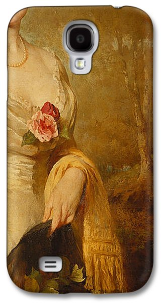 British Portraits Galaxy S4 Cases - Portrait of a Lady in a White Dress Galaxy S4 Case by George Elgar Hicks