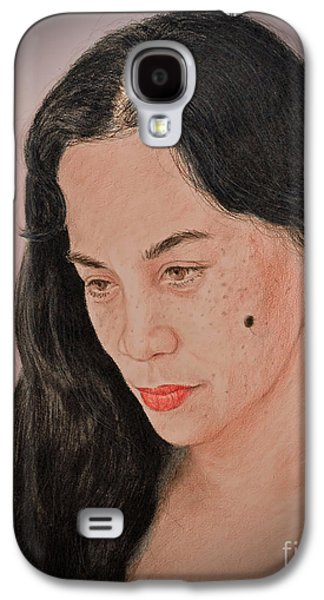 Beauty Mark Mixed Media Galaxy S4 Cases - Portrait of a Long Haired Filipina Beautfy with a Mole on Her Cheek Fade to Black Version Galaxy S4 Case by Jim Fitzpatrick