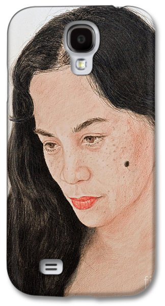 Beauty Mark Mixed Media Galaxy S4 Cases - Portrait of a Long Haired Filipina Beautfy with a Mole on Her Cheek Galaxy S4 Case by Jim Fitzpatrick
