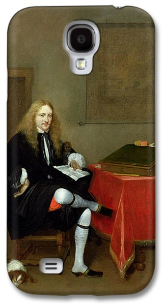 Spaniels Galaxy S4 Cases - Portrait Of A Man In His Study, C.1668-69 Oil On Canvas Galaxy S4 Case by Gerard ter Borch or Terborch