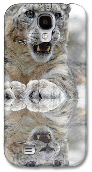 Digital Galaxy S4 Cases - Portrait of a Snow Leopard with a Reflection Galaxy S4 Case by Jim Fitzpatrick