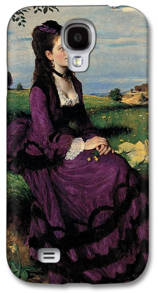 Sit-ins Galaxy S4 Cases - Portrait of a Woman in Lilac Galaxy S4 Case by Pal Szinyei Merse