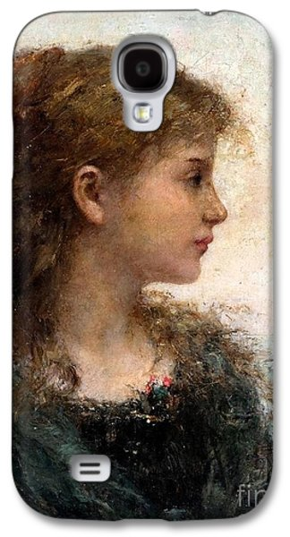 Orthodox Paintings Galaxy S4 Cases - Portrait of a Young Girl Galaxy S4 Case by Celestial Images