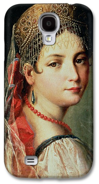Youthful Paintings Galaxy S4 Cases - Portrait of a Young Girl in Sarafan and Kokoshnik Galaxy S4 Case by Mauro Gandolfi