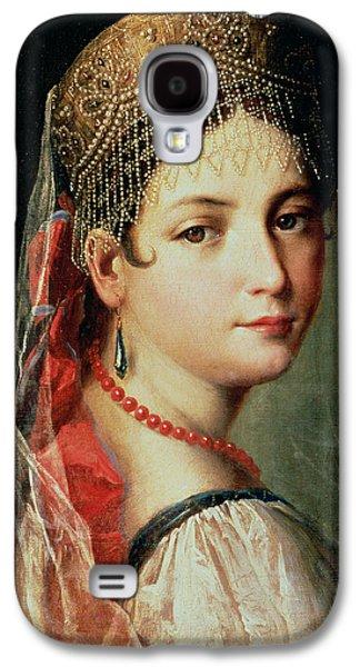 Youthful Galaxy S4 Cases - Portrait of a Young Girl in Sarafan and Kokoshnik Galaxy S4 Case by Mauro Gandolfi