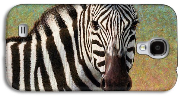 Stripes Paintings Galaxy S4 Cases - Portrait of a Zebra - Square Galaxy S4 Case by James W Johnson