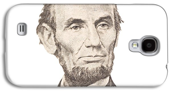 Slavery Digital Art Galaxy S4 Cases - Portrait of Abraham Lincoln on White Background Galaxy S4 Case by Keith Webber Jr