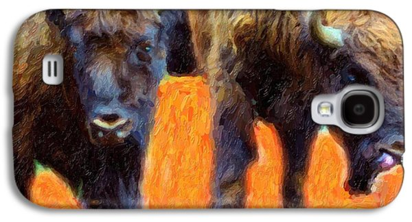 Bison Mixed Media Galaxy S4 Cases - Portrait Of Bison  Galaxy S4 Case by Toppart Sweden