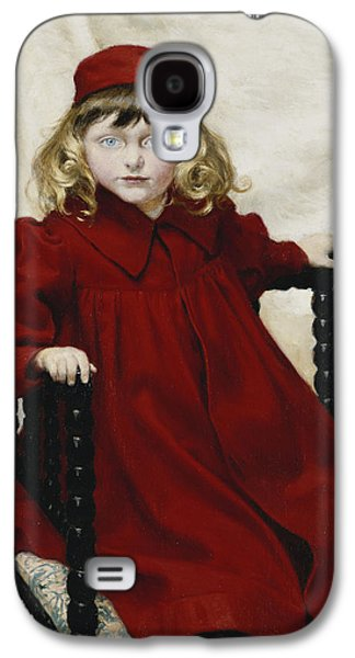 Studio Photographs Galaxy S4 Cases - Portrait Of Harriet Fischer, Small Three-quarter Length, Wearing A Red Dress, 1896 Oil On Canvas Galaxy S4 Case by Paul Fischer