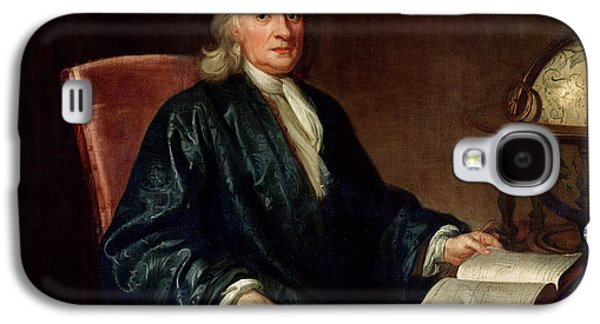 Globe Paintings Galaxy S4 Cases - Portrait of Isaac Newton Galaxy S4 Case by Enoch Seeman