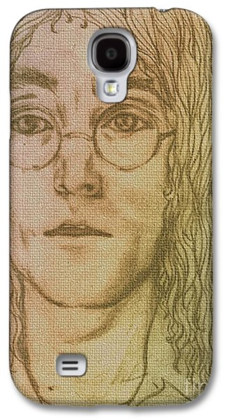 Beatles Pastels Galaxy S4 Cases - Portrait of John Lennon Galaxy S4 Case by Joan-Violet Stretch