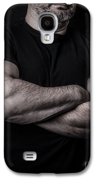 Shirt Galaxy S4 Cases - Portrait of Man Galaxy S4 Case by Edward Fielding