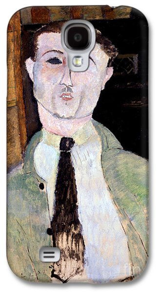 July Paintings Galaxy S4 Cases - Portrait of Paul Guillaume Galaxy S4 Case by Amedeo Modigliani