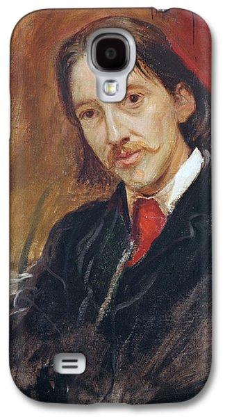 Mustache Galaxy S4 Cases - Portrait of Robert Louis Stevenson Galaxy S4 Case by Sir William Blake Richomond