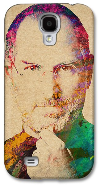 Inc Galaxy S4 Cases - Portrait of Steve Jobs Galaxy S4 Case by Aged Pixel