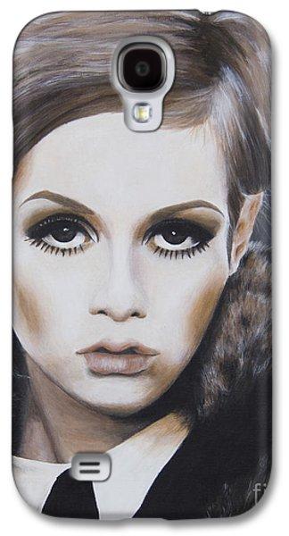 Twiggy Paintings Galaxy S4 Cases - Portrait of Twiggy Galaxy S4 Case by Moe Notsu