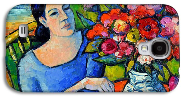 Motif Galaxy S4 Cases - Portrait Of Woman With Flowers Galaxy S4 Case by Mona Edulesco