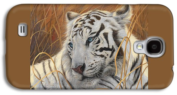 Tiger Galaxy S4 Cases - Portrait White Tiger 1 Galaxy S4 Case by Lucie Bilodeau