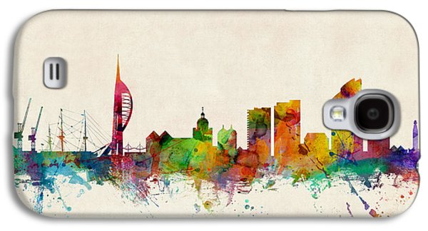 Great Britain Galaxy S4 Cases - Portsmouth England Skyline Galaxy S4 Case by Michael Tompsett