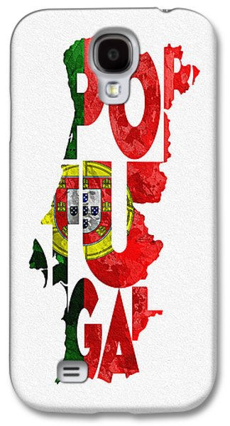Portuguese Mixed Media Galaxy S4 Cases - Portugal Typographic Map Flag Galaxy S4 Case by Ayse Deniz