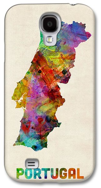 Portugal Galaxy S4 Cases - Portugal Watercolor Map Galaxy S4 Case by Michael Tompsett