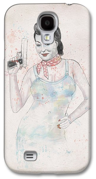Girls Mixed Media Galaxy S4 Cases - Posing With Gun 2 Galaxy S4 Case by Balazs Solti