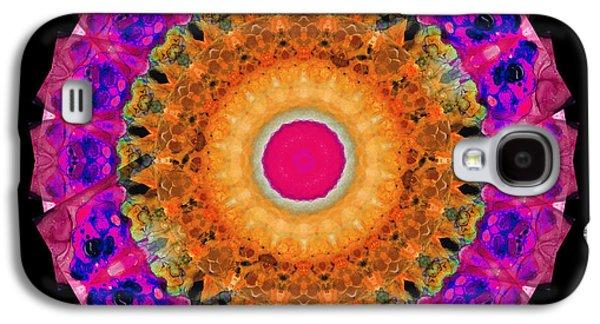 Kaleidoscope Galaxy S4 Cases - Positive Energy 1 - Mandala Art By Sharon Cummings Galaxy S4 Case by Sharon Cummings