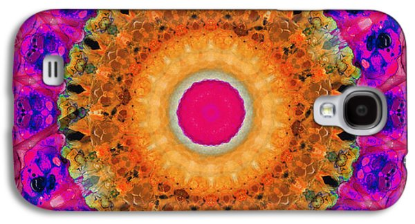 Kaleidoscope Galaxy S4 Cases - Positive Energy 2 - Mandala Art By Sharon Cummings Galaxy S4 Case by Sharon Cummings