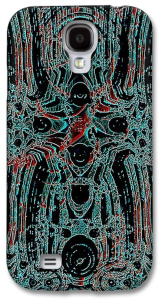 Blue Abstracts Galaxy S4 Cases - Post-historical Rock Art Galaxy S4 Case by Anastasiya Malakhova