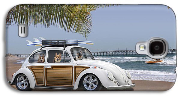 Best Sellers -  - Dogs Digital Art Galaxy S4 Cases - Postcards from Otis - Beach Corgis Galaxy S4 Case by Mike McGlothlen