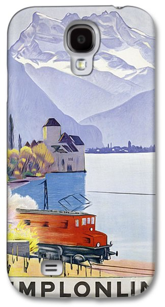Switzerland Drawings Galaxy S4 Cases - Poster Advertising Rail Travel Around Lake Geneva Galaxy S4 Case by Emil Cardinaux