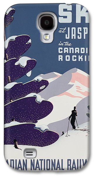 Skiing Posters Paintings Galaxy S4 Cases - Poster advertising the Canadian Ski Resort Jasper Galaxy S4 Case by Canadian School