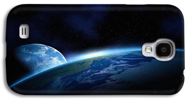 Screen Print Galaxy S4 Cases - Poster Moon Galaxy S4 Case by Victor Gladkiy