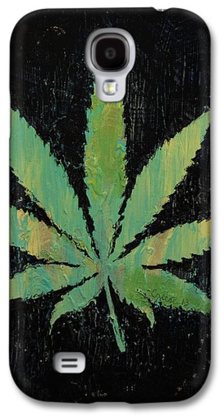 Trippy Paintings Galaxy S4 Cases - Pot Leaf Galaxy S4 Case by Michael Creese