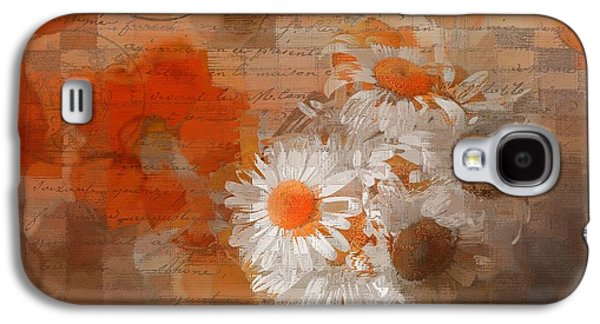 Orange Digital Art Galaxy S4 Cases - Pot of Daisies 02 - j33027100rgn1c Galaxy S4 Case by Variance Collections
