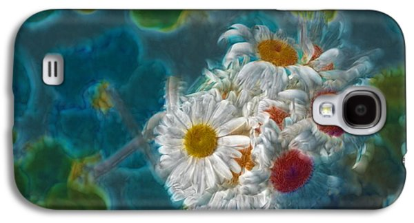 Floral Digital Galaxy S4 Cases - Pot of Daisies 02 - s11bl01 Galaxy S4 Case by Variance Collections