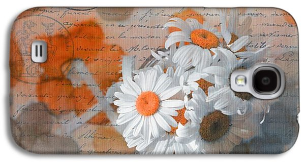 Orange Digital Art Galaxy S4 Cases - Pot of Daisies 02 - s3r-rngt1d Galaxy S4 Case by Variance Collections