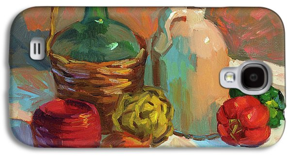 Pepper Paintings Galaxy S4 Cases - Pottery and Vegetables Galaxy S4 Case by Diane McClary