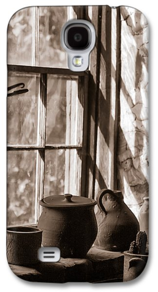 Old Pitcher Galaxy S4 Cases - Pottery on a stone sill Galaxy S4 Case by Chris Bordeleau