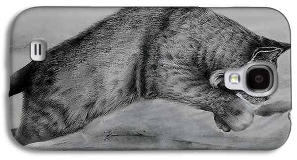 Bobcats Drawings Galaxy S4 Cases - Pounce Galaxy S4 Case by Jean Cormier