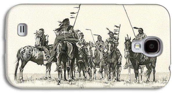 Tribe Paintings Galaxy S4 Cases - Atsina Warriors Horseback Galaxy S4 Case by Don  Langeneckert