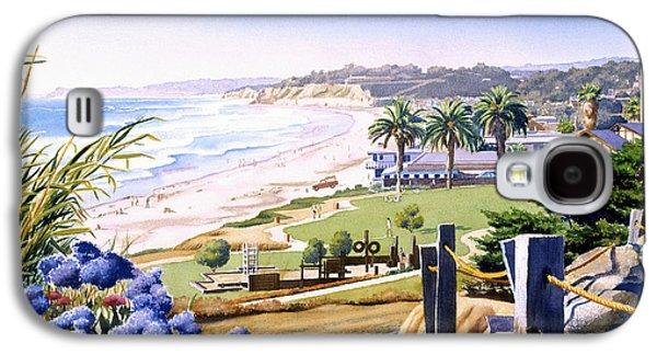 California Beaches Galaxy S4 Cases - Powerhouse Beach Del Mar Blue Galaxy S4 Case by Mary Helmreich