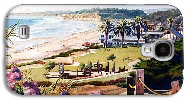 California Beaches Galaxy S4 Cases - Powerhouse Beach Del Mar Lilac Galaxy S4 Case by Mary Helmreich