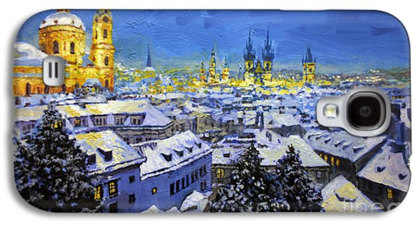 Winter Light Paintings Galaxy S4 Cases - Prague After Snow Fall Galaxy S4 Case by Yuriy Shevchuk
