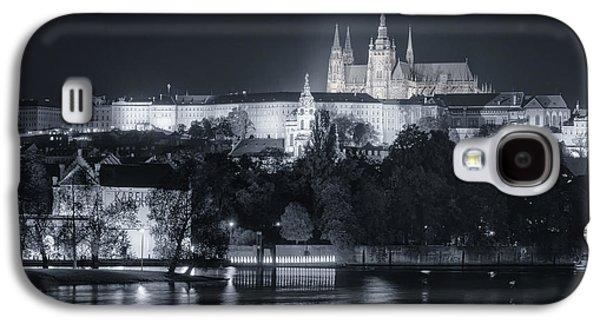 Light Galaxy S4 Cases - Prague Castle at Night Galaxy S4 Case by Joan Carroll