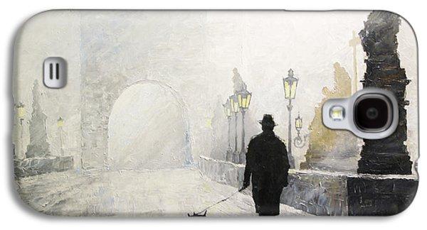 Morning Light Paintings Galaxy S4 Cases - Prague Charles Bridge Morning Walk 01 Galaxy S4 Case by Yuriy Shevchuk